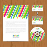Vector retro corporate identity template with color stripes