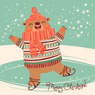 Christmas card with a pretty brown bear on an ice