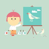 My pet painting happy child with bird illustration