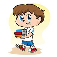 Child student carrying books
