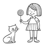 Girl With Cat and Lollipop