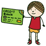 Boy holding up a large credit card