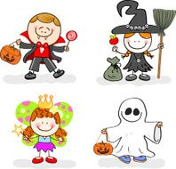 children with halloween costume cartoon illustration