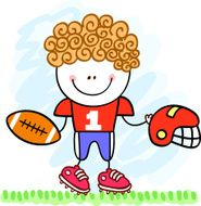american footballer kid cartoon illustration N2