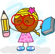 black girl with pen and book cartoon illustration