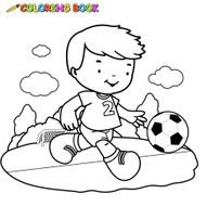 Coloring book kid playing football