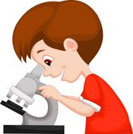 Young boy cartoon using microscope