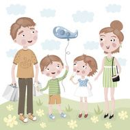 Family Shopping in vector cartoon style