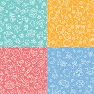 Set of seamless patterns with kids sweets and toys