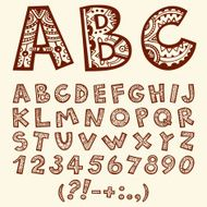 Hand drawn doodle folkloric ornamental alphabet with numbers
