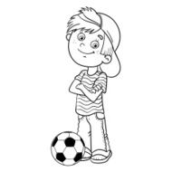 Coloring Page Outline Of a Boy with soccer ball
