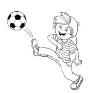 Coloring Page Outline Of A Boy kicking a soccer ball N3