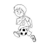 Coloring Page Outline Of A Soccer Boy N2