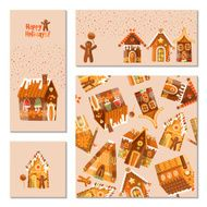Set of 4 universal cards with festive gingerbread houses Template