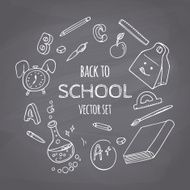 Back to school doodle supplies set Chalk style Chalkboard background