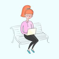 Young girl working with laptop color vector