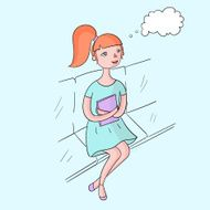 Young girl dream with book color vector
