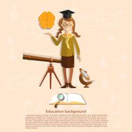 Education back to school girl astronomy concept