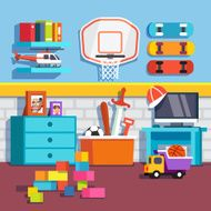 Boys room with toys skateboards basketball ring
