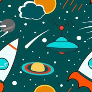 Seamless pattern with outer space rocket comet planets ufo and