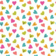 Seamless pattern with funny smiley hearts Cute characters
