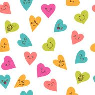 Seamless pattern with smiley hearts Cute cartoon characters