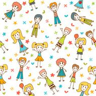 Hand drawn seamless pattern with happy children