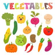 Cute kawaii smiling vegetables Healthy style collection