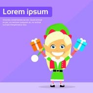 Christmas Elf Female Cartoon Character Little Gril Santa Helper