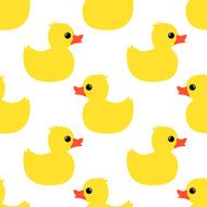 Cute seamless pattern with yellow rubber duck on white background