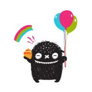 Funny Happy Cute Little Black Monster with Sweets Balloons Rainbow