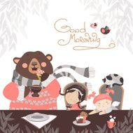 Girls drinking tea with a cute bear