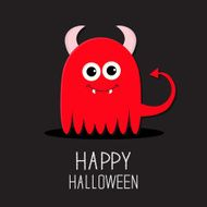 Cute red evil monster with horns and fangs Halloween Flat