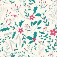 Seamless floral pattern with winter plants
