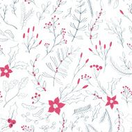 Seamless floral pattern with winter plants N2