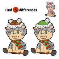 Find differences Christmas winter sheep Game for children