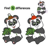 Find differences Christmas winter panda Game for children