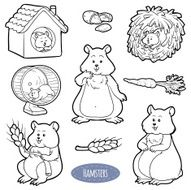 Colorless set of cute domestic animals and objects (hamster)
