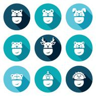 Christmas hats Icons Set Vector Illustration