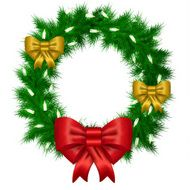 Christmas vector wreath from needles with white space for text