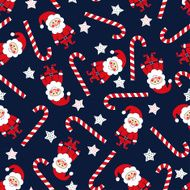 Seamless Christmas pattern with Santa Claus stars and candy cane