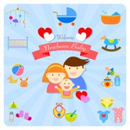 welcome newborn baby infographics happy family N2