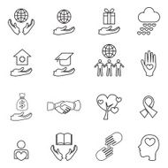 charity and donation line icons set N2
