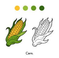 Coloring book fruits and vegetables (corn) N2