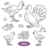 Set of cute farm animals and objects vector family turkeys
