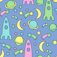 Seamless space pattern Bright cosmic background with stars planet spaceship