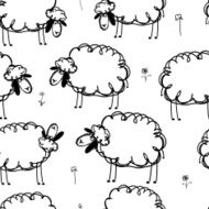 Funny sheeps on meadow seamless pattern for your design
