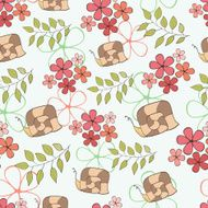 Seamless pattern cute cartoon snail and flowers