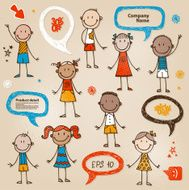 Hand-drawn children and speech bubbles set N2