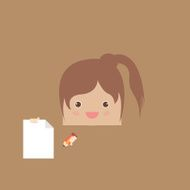 cartoon doodle girl rectangle of business vector illustration
